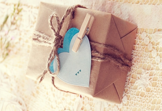Gift Box with heart-shaped tags
