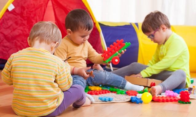 children playing on  floor