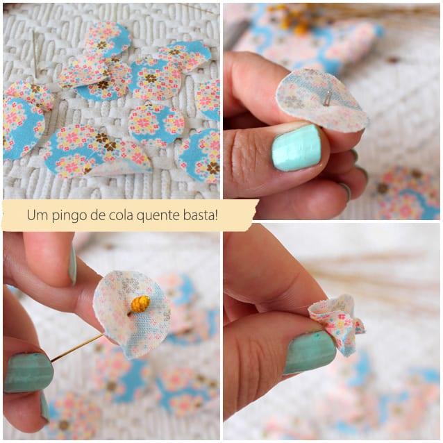 flores com retalhos de tecido