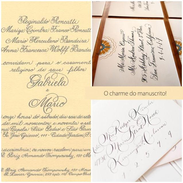 convite de casamento manuscrito