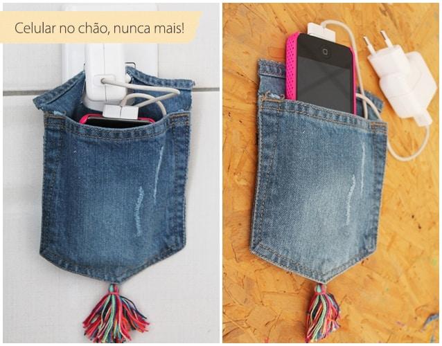 porta-carregador de celular feito com jeans8