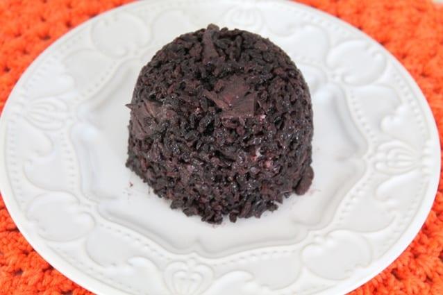 risoto de arroz negro com shimeji