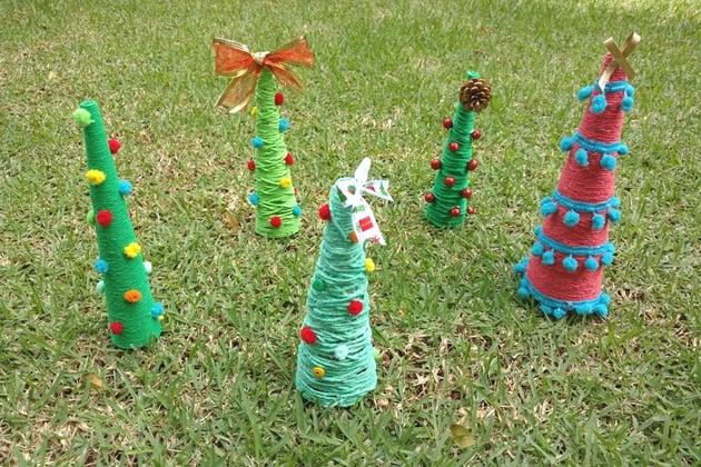 Craft day natalino: mini árvore de barbante