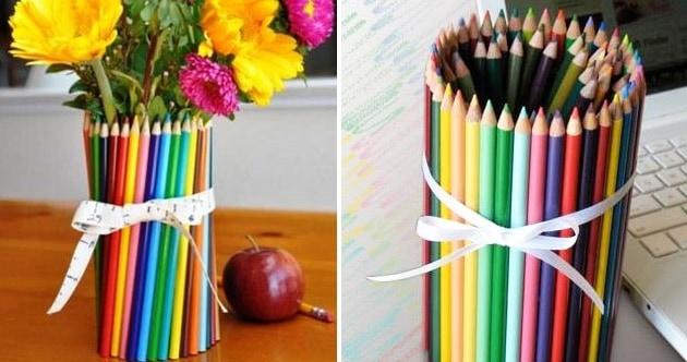 cachepô de lápis de cor