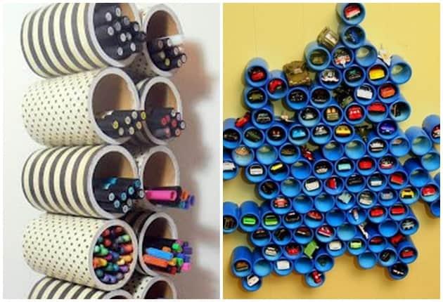como utilizar tubos de PVC para organizar a casa