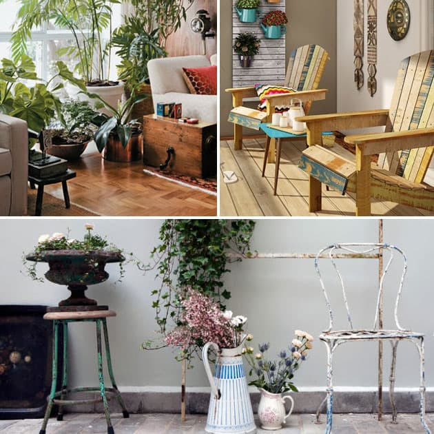 redes e móveis de jardim dentro de casa