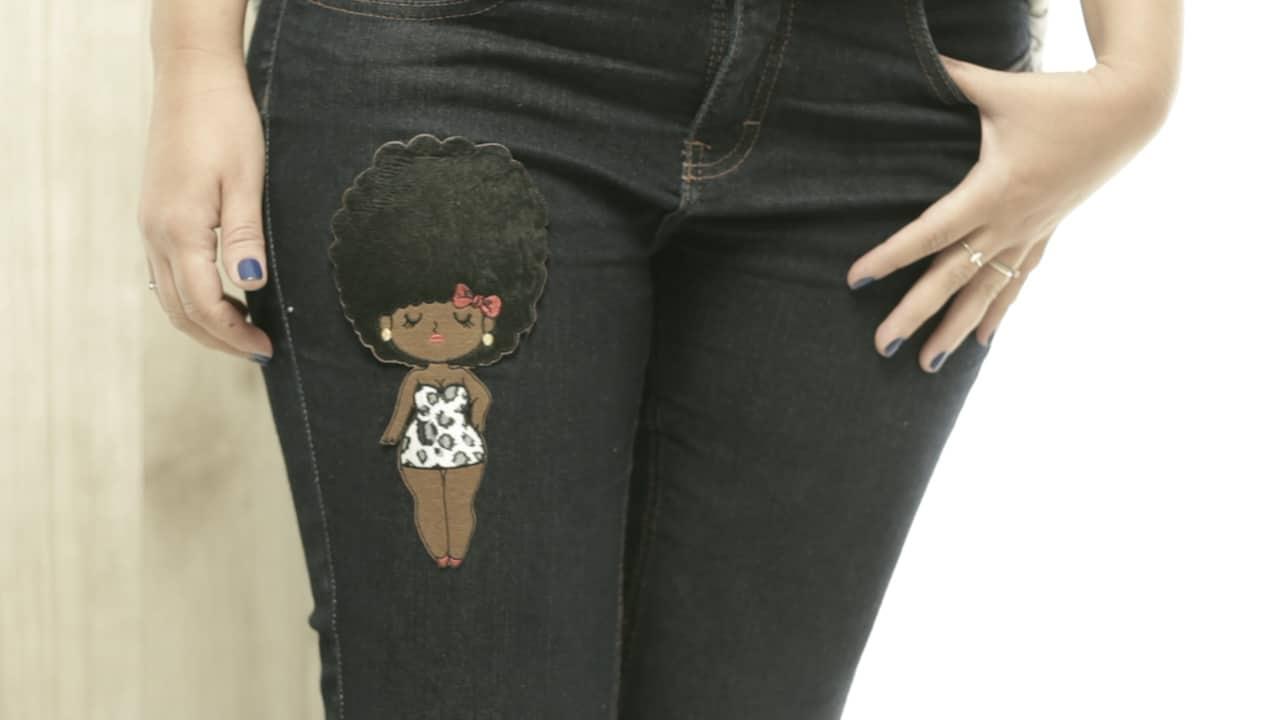 aplique em jeans