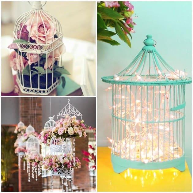 gaiolas na decoração flores