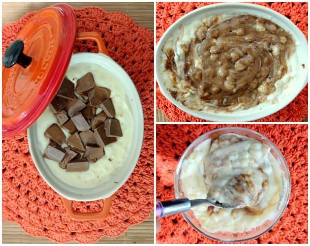 canjica com chocolate e coco