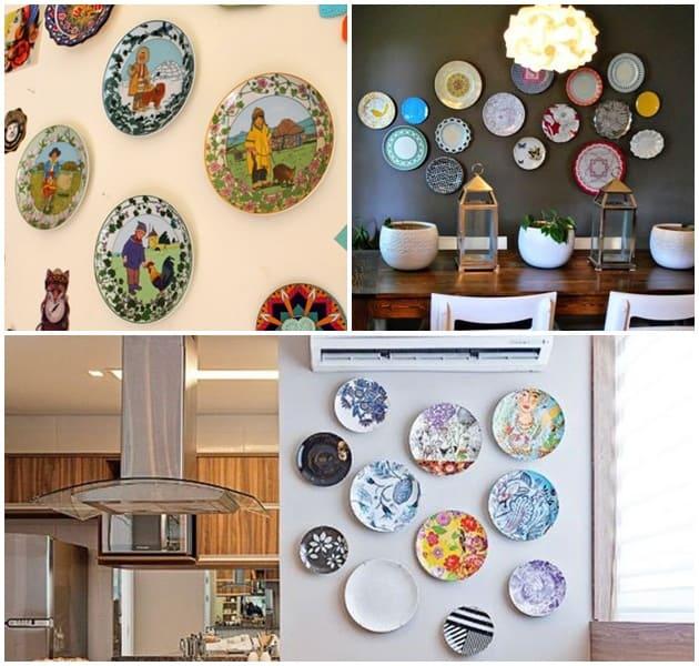 decoração de parede pratos -