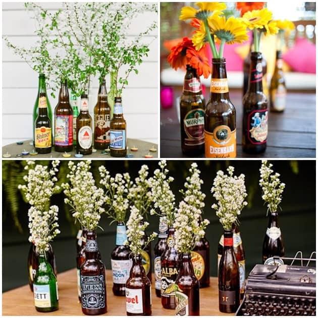cerveja na decoração com garrafas