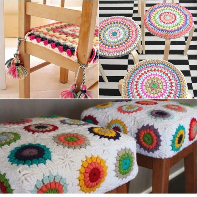 crochê volta à decoração - bancos e cadeiras