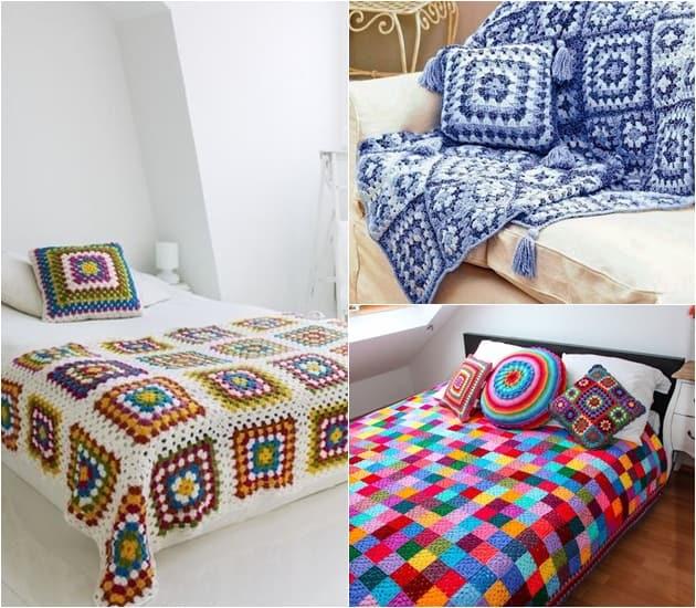 crochê volta à decoração - cama e manta -