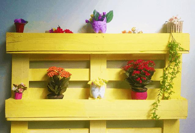 decorar com pallet florera