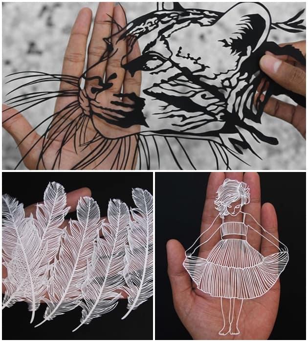 Dá para acreditar que é só papel e tesoura para criar essas verdadeiras obras de arte? Criações da indiana Parth Kothekar.