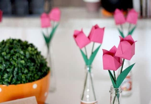 origami na decoração de festa