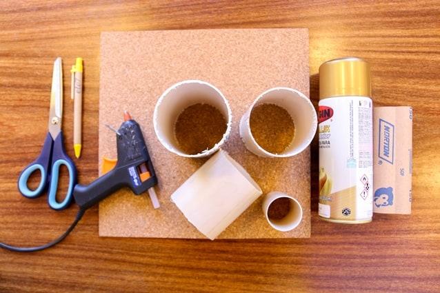 porta-canetas de PVC materiais