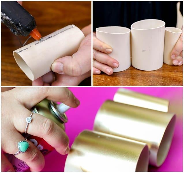 porta-canetas de PVC colar e pintar