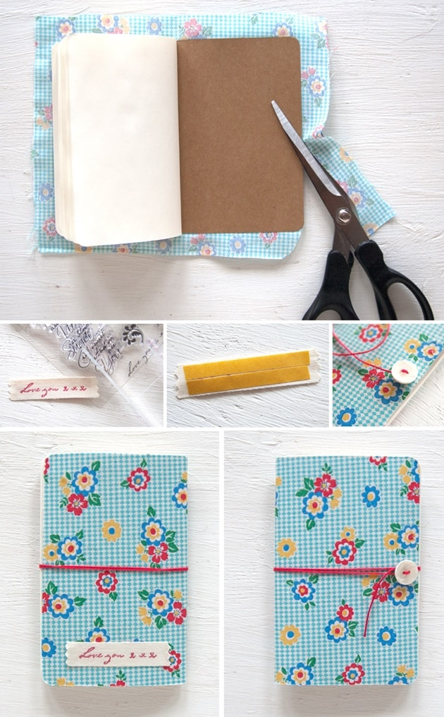 Um outro jeito de encapar caderno com tecido é utilizando termocolante