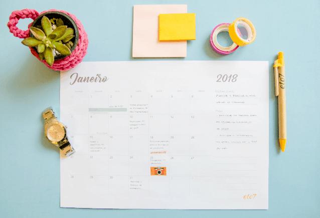 Como se planejar em 2018: baixe o calendário gratuito