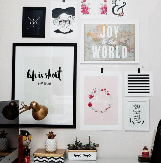 Decorar o atelier com posteres inspiradores emoldurado na parede