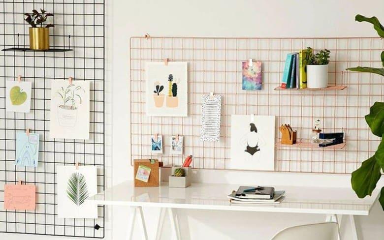 Decorar o atelier com posteres inspiradores tela aramada