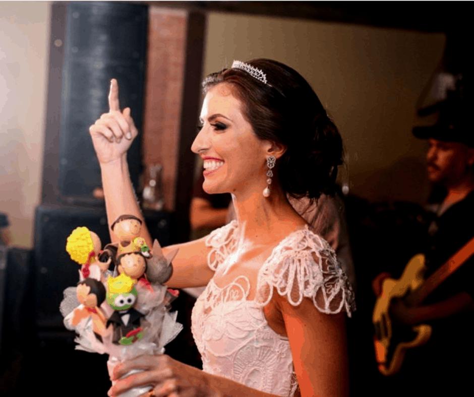 casamento, brincadeiras divertidas, buquê, buquê de feltro