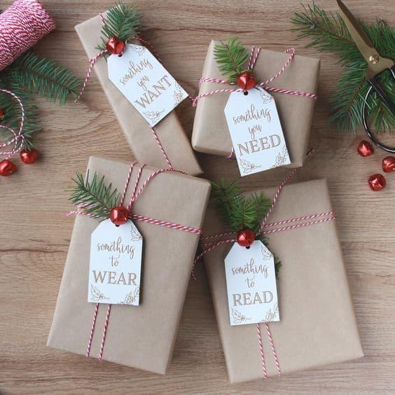 Tags criativas para presente de Natal barbante
