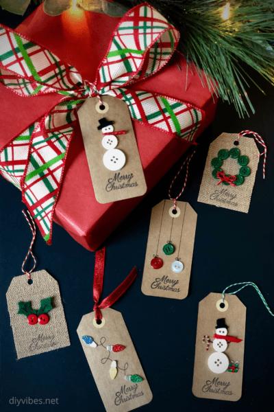 Tags criativas para presente de Natal laços