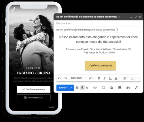 Site de casamento exibido em formato mobile junto com e-mail para pedido de confirmação de presença.