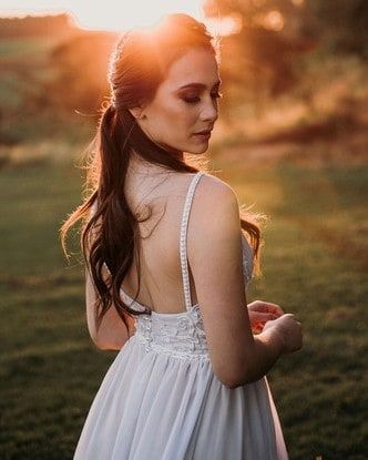 Ensaio noiva pôr do sol.