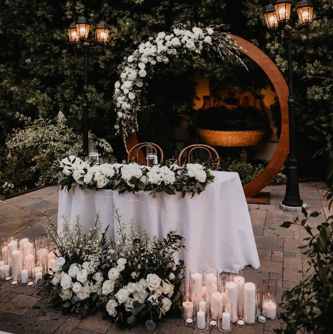 Altar para casamento no quintal